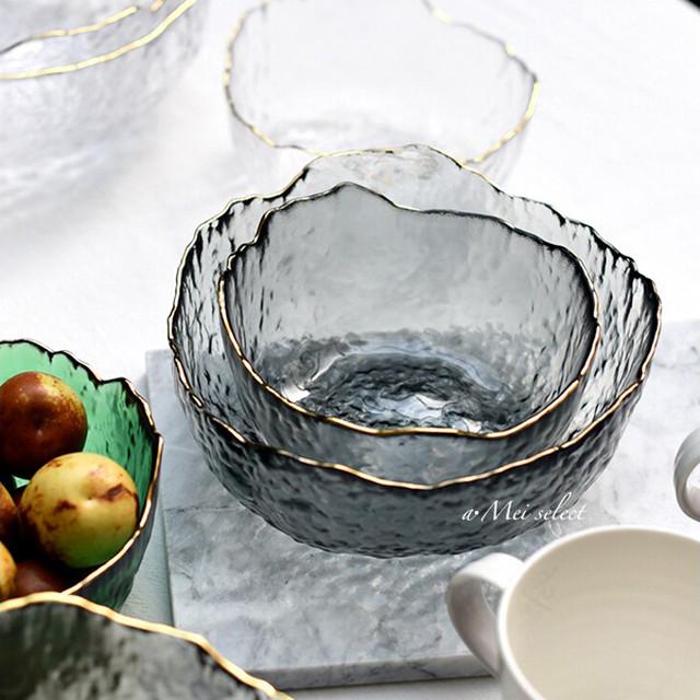 【Sサイズ2枚SET】海外デザイン!! ブラッククリアガラスボール 高級感漂うゴールドライン  食器 ディナー ランチ ボウル 洋食器 ガラス皿