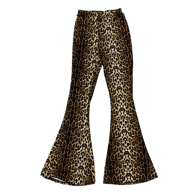 Leopard Bell Bottom Slit Pants