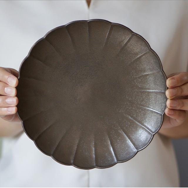 ダブルリムプレート 21cm(パール釉)