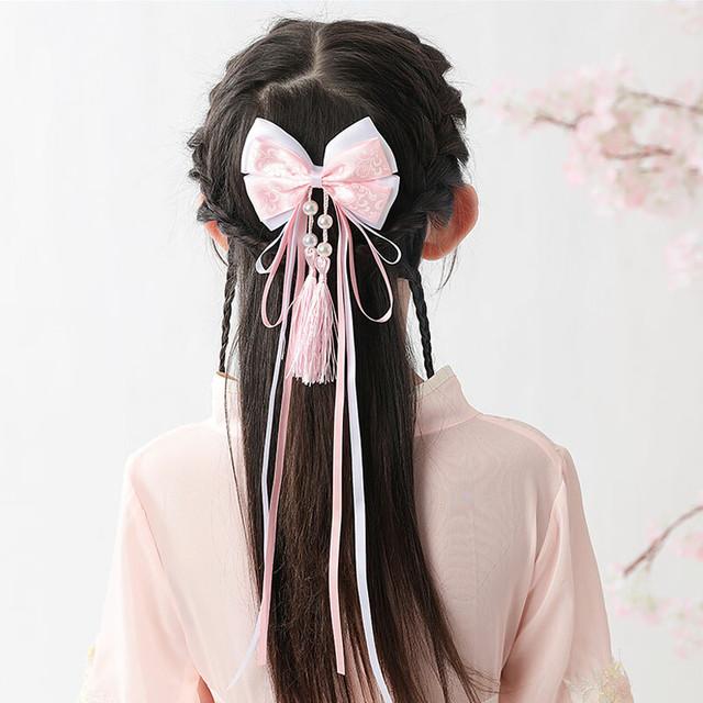 女の子 ヘッドアクセサリー 子供用 フリンジ リボン飾り 髪飾り ヘアアクセサリー 漢服と合わせやすい キッズ 結婚式 ステージ 発表会 入園式 卒園式 ピンク