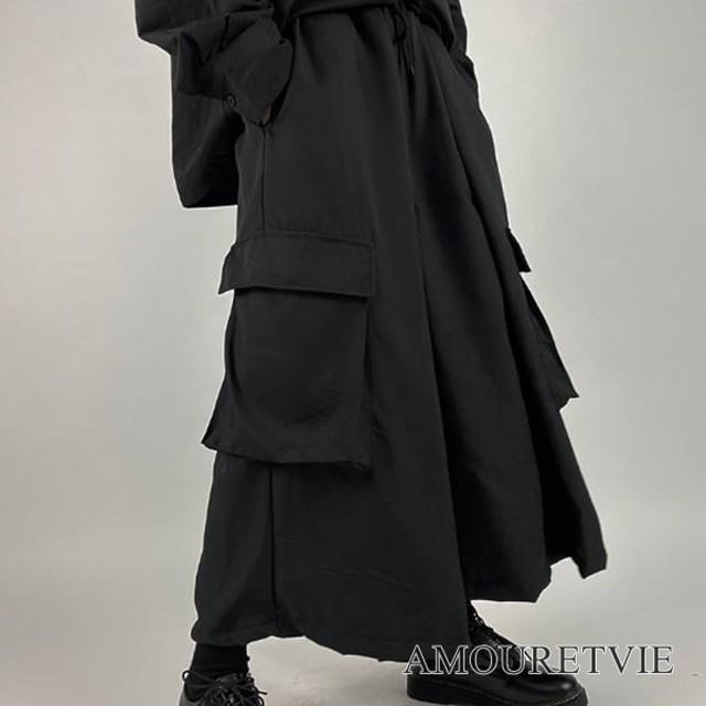 袴パンツ カジュアルパンツ サルエルパンツ 黒 ブラック メンズ レディース ユニセックス ピープス オルチャン 韓国ファッション 1272