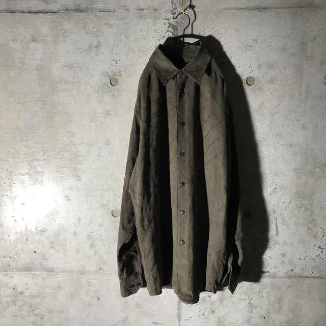 [used] sawed moss green suede shirt