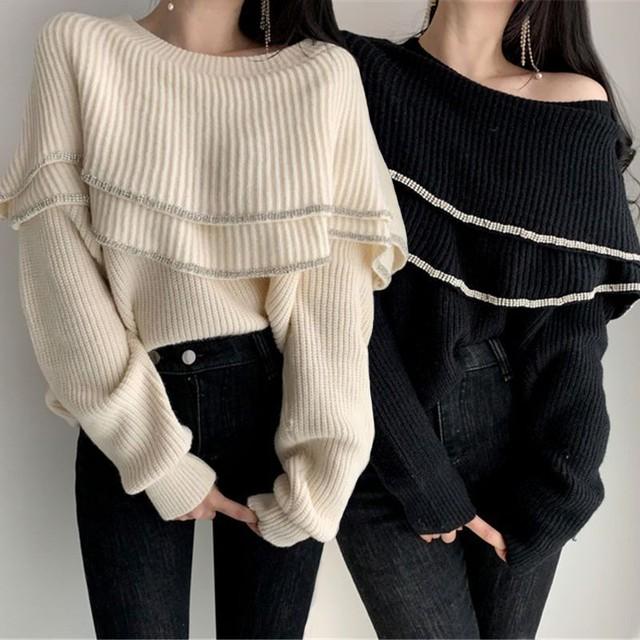 2way ニットセーター フリル オフショルダー ルーズ 長袖 韓国ファッション レディース トップス ニットソー 無地 ゆったり 大人可愛い ガーリー / Pullover frill knit sweater (83ZHMENGR-005)