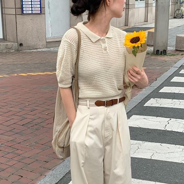 2020AW 透かし編み・半袖ニットポロシャツ