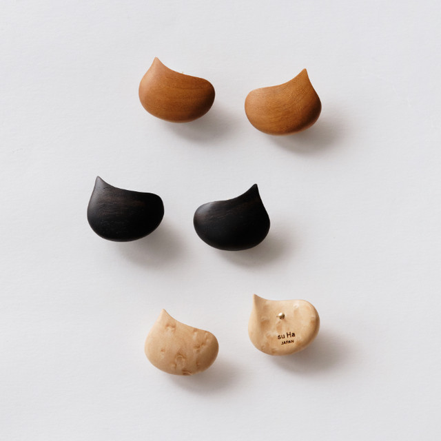 """EBISU"" Wood stud earrings /size: M"