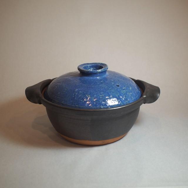 【送料無料】 たっぷり大きめの土鍋で 土鍋パーティー☆彡ブルーの蓋 土鍋