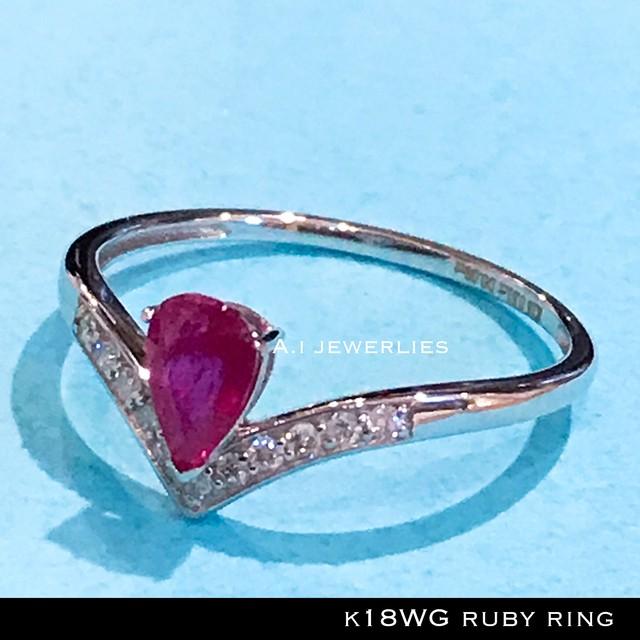 k18 天然石 リング 18金 ホワイト ゴールド 天然石 ルビー 天然石 ダイアモンド リング / k18 ruby diamonds ring