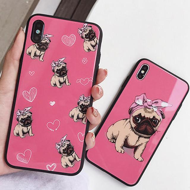 iPhoneXR iPhoneXS MAX iPhone8 iPhoneX 韓国 可愛い ピンク 犬