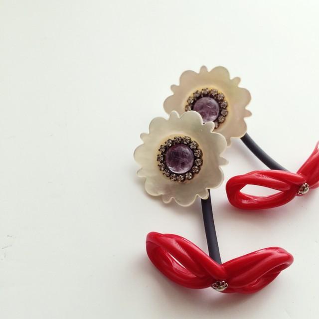 《再入荷》Shell flower pierce/earrings (RED)