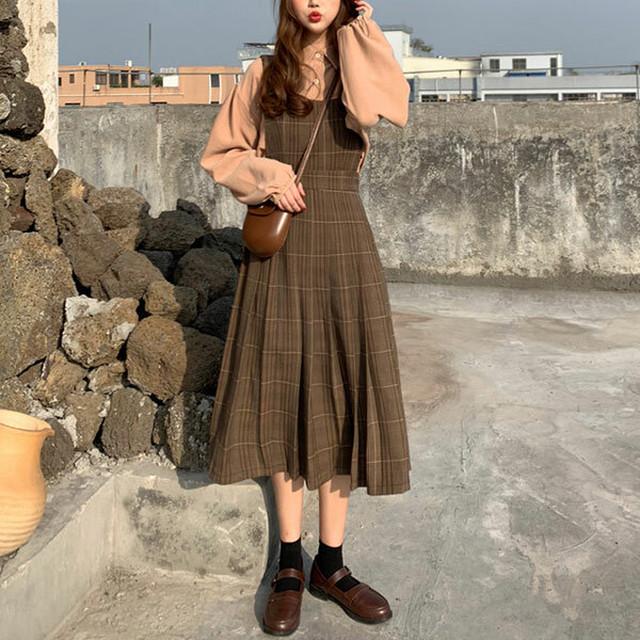 ブラウンのチェック柄ジャンパースカート【FS1560】