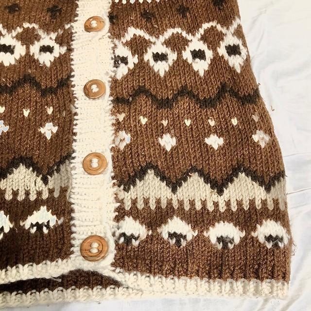 Nordic pattern big cardigan