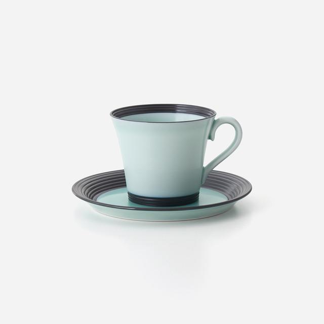 青磁黒彩 珈琲碗皿