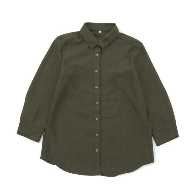 リネンブレンドシャツ (カーキ) 3000030