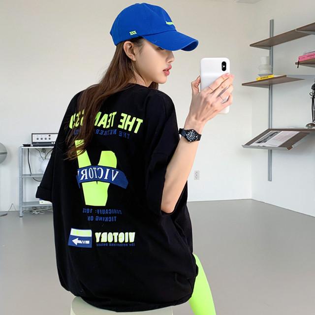 【トップス】韓国系半袖ラウンドネックプルオーバーTシャツ45207740