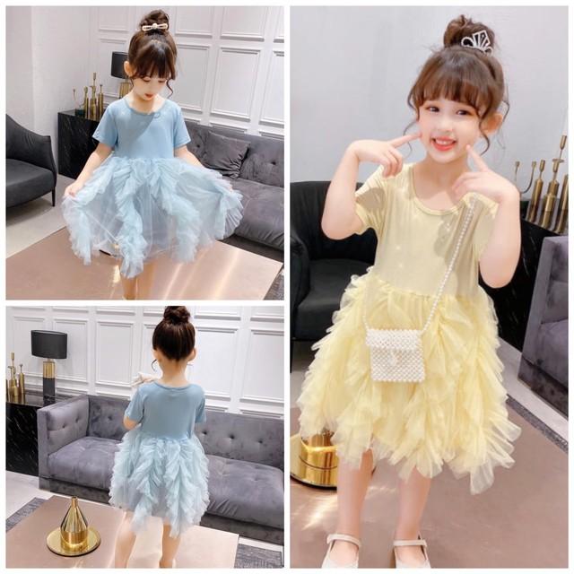 105cm~160cm 2カラー★ ドレス ワンピース 半袖 フリル