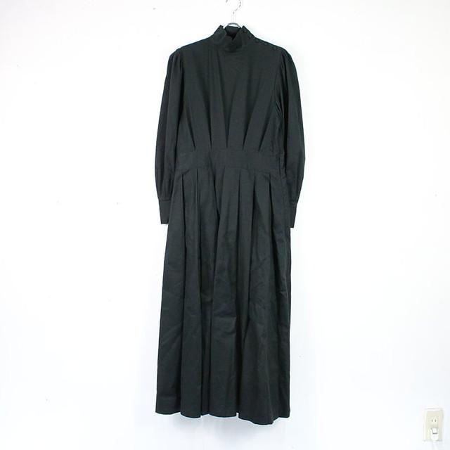 foufou / フーフー | THE DRESS #14 high neck tuck one-piece ハイネックタックワンピース | 1 | ブラック | レディース