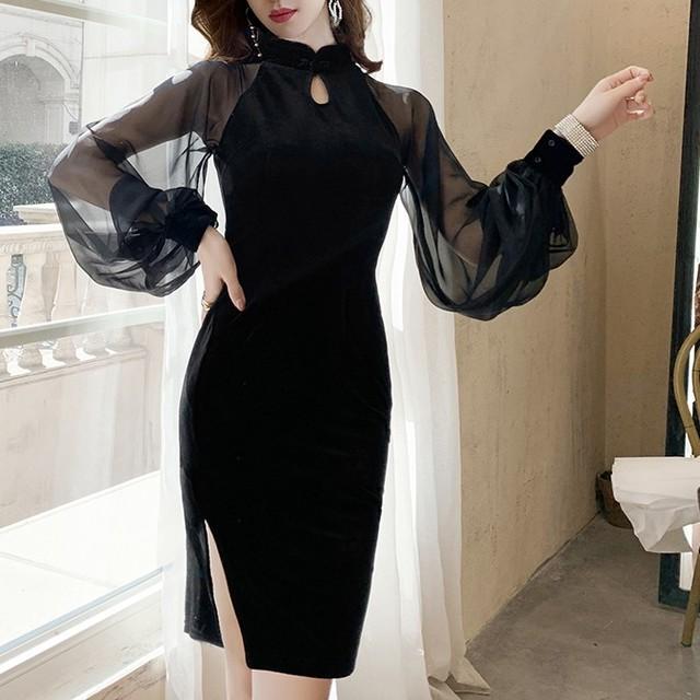 【dress】レトロ美しいラインワンピース