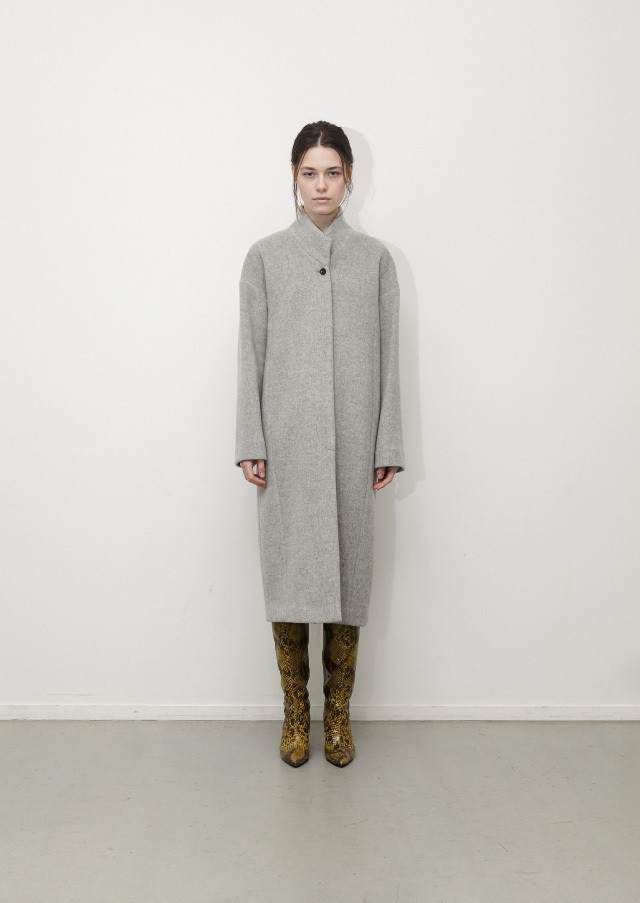 Wool stand collar coat