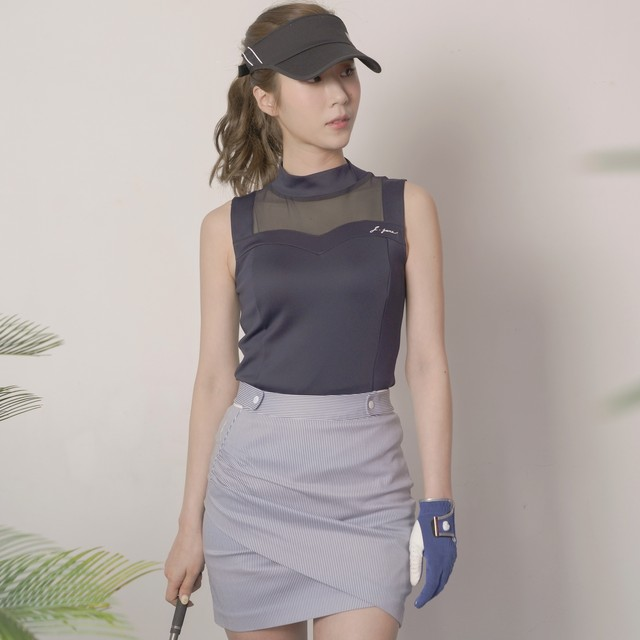 See-through sleeveless shirts(Navy)