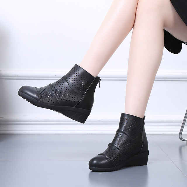【シューズ】レトロウェッジソール透かし彫りショート丈ブーツ18280130