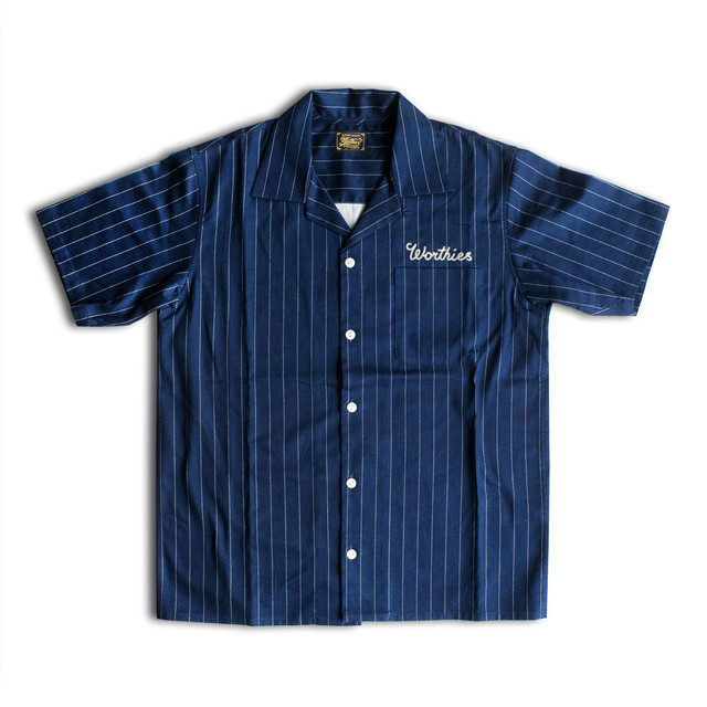PIN STRIPE S/S SHIRTS NAVY
