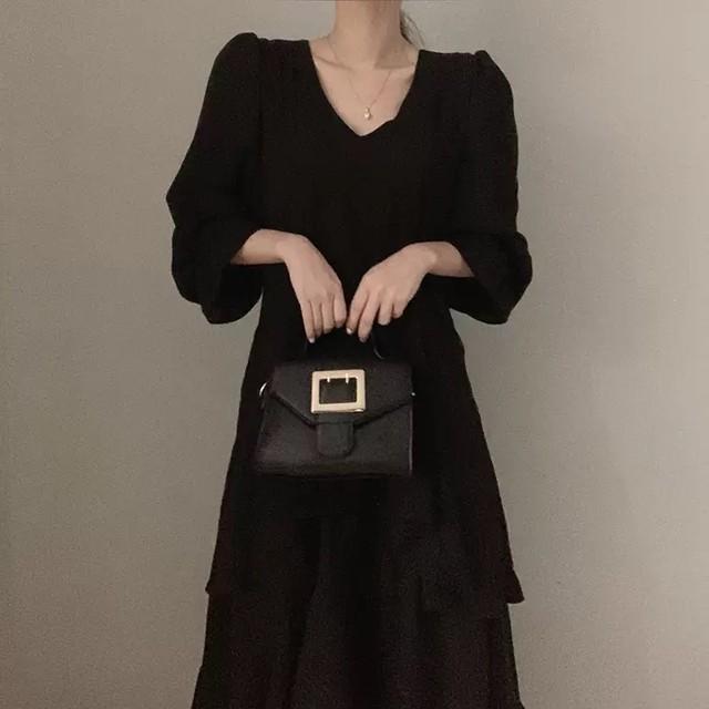 v cut frill dress 2color