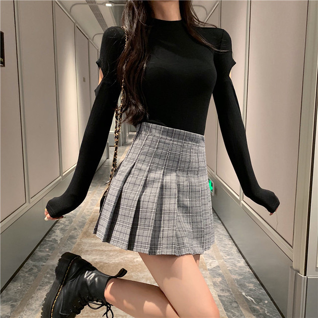 【ボトムス】チェック柄ハイウエスト若見えキャンパス合わせやすいスカート33437654
