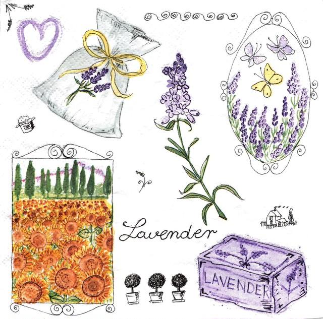 【Daisy】バラ売り2枚 ランチサイズ ペーパーナプキン Lavender Garden ホワイト