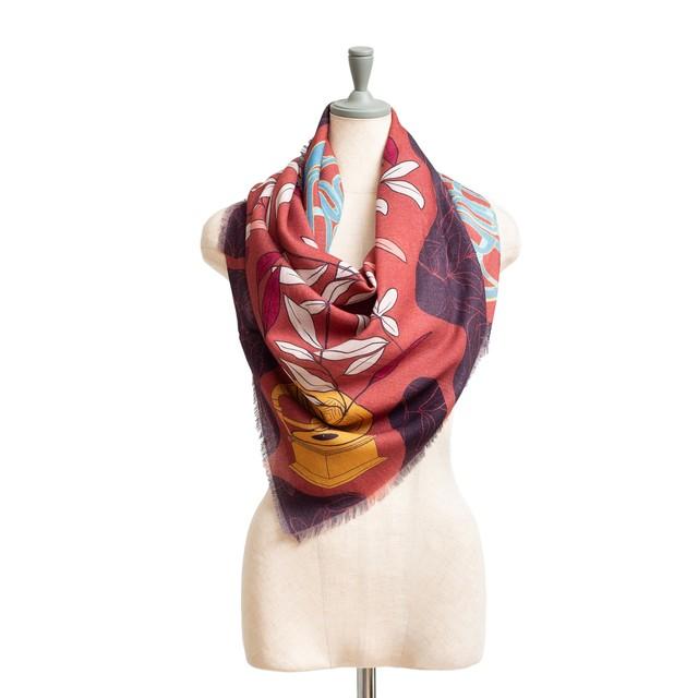 Merino Wool 'Hibernation' Navy 正方形スカーフ