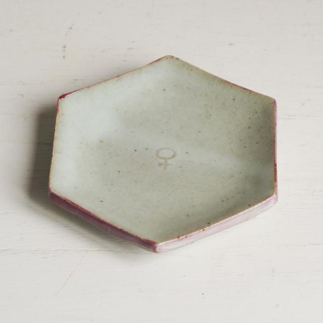 唐津彩色六角小皿
