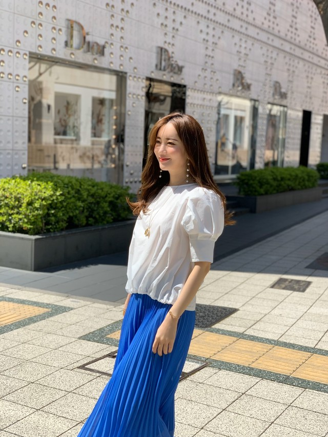 puff sleeve blouse / white (即納)
