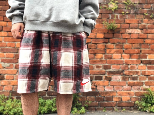 Supreme × NIKE PLAID SWEATSHORT XL RED 50JC5305
