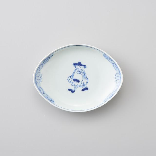 【青花】マント異人 舟型銘々皿