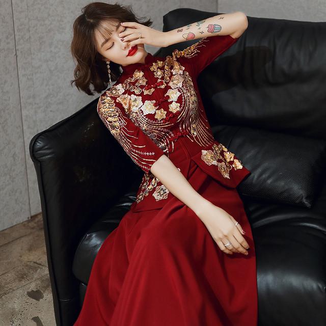 【唐装・漢服・秀禾服】中華服 結婚式ドレス 花嫁ドレス 刺繍入り XS~3L レッド 中袖or長袖