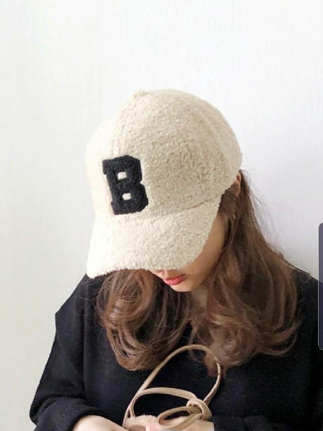 Bもこもこボールキャップ ボールキャップ キャップ 韓国ファッション