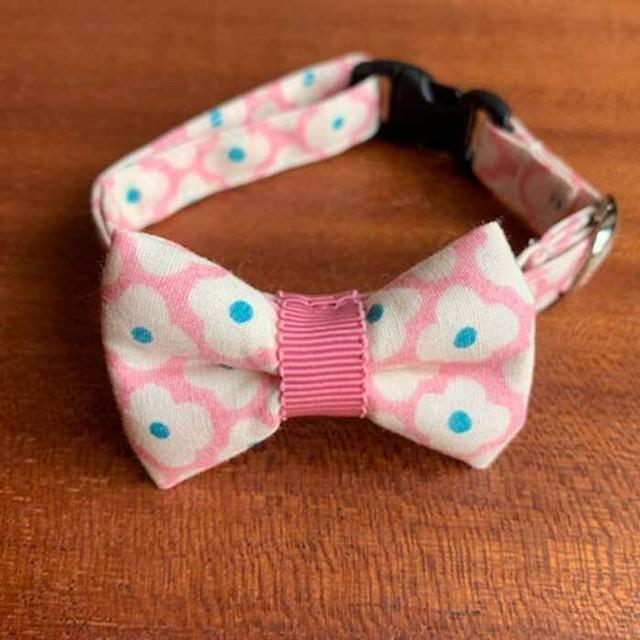 【送料無料】猫の首輪 リボン首輪 グログランリボン 花柄 ピンクリボン×ホワイトフラワー