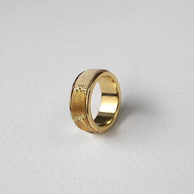 西陣織「金襴」リング(12-13号)ゴールド×ゴールド