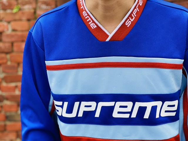 Supreme WARM UP HOCKEY JERSEY BLUE MEDIUM 25JG7307