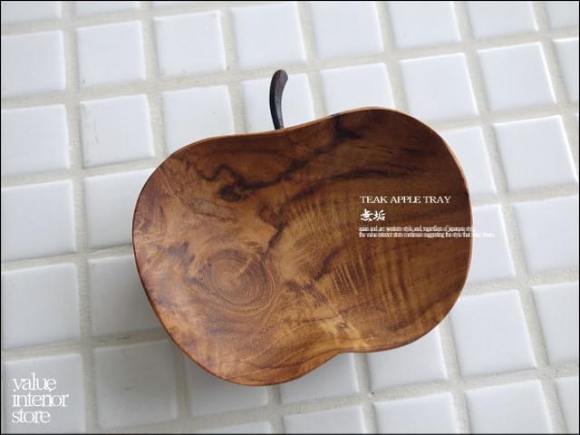 チークアップルトレイS-size 木皿 飾り台 小物入れ ナチュラル 天然木 無垢材 食器 リンゴ型トレイ 天然木 木製 ジュエリートレイ 小皿