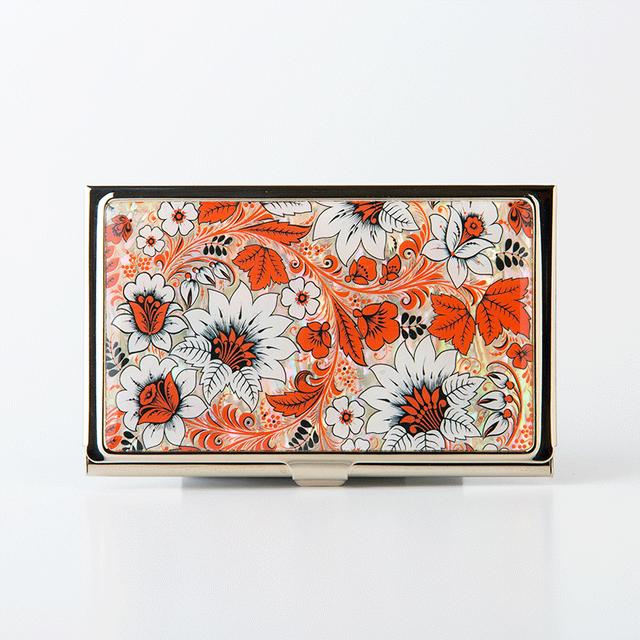天然貝 名刺カードケース(オリエンタルフラワー)<螺鈿アート>