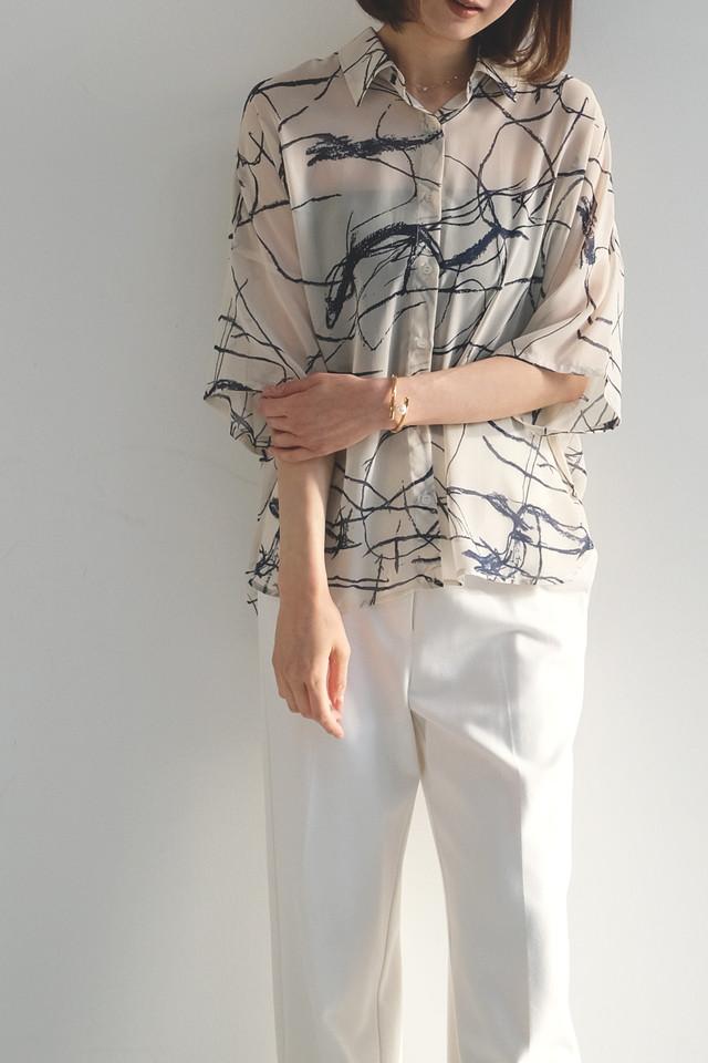 シフォンプリント BIGシャツ(CA1S-T242・BLK完売)