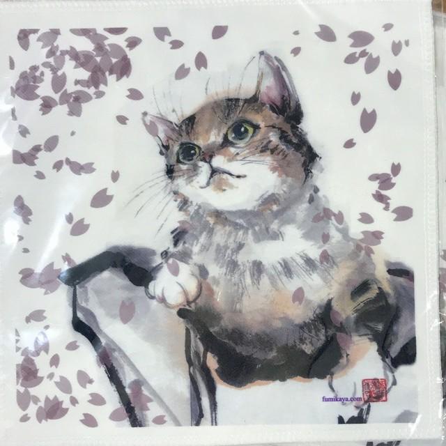 桜舞い散るネコ ミニハンカチ