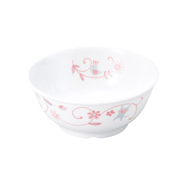 強化磁器 11cm こども茶碗 サラサ・ピンク【1087-1310】
