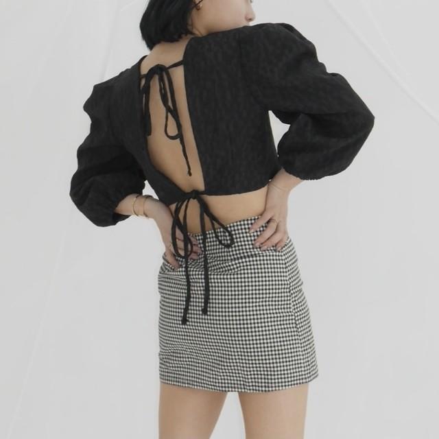 【Belle】LAST4 mini flower blouse / black