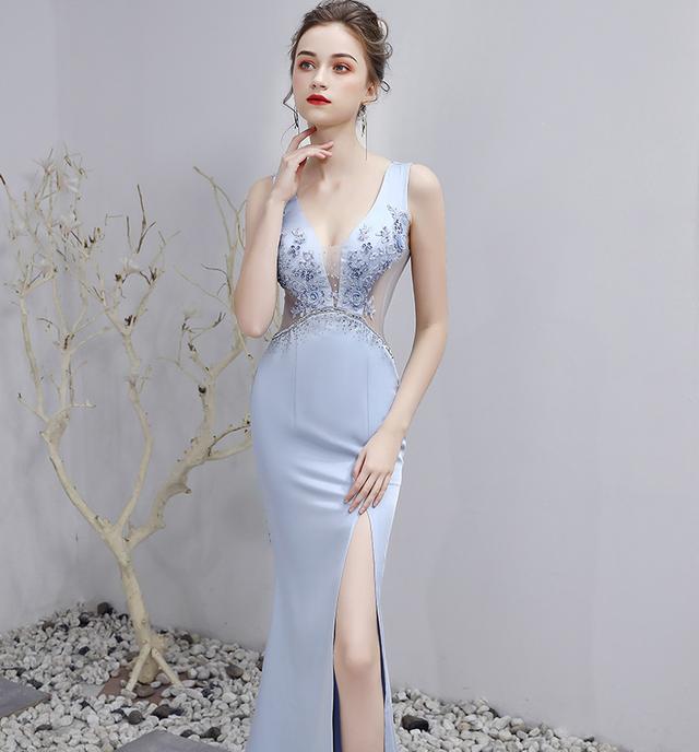 カットアウトダイヤモンド付きのロングドレスとショートドレス[YN2033]