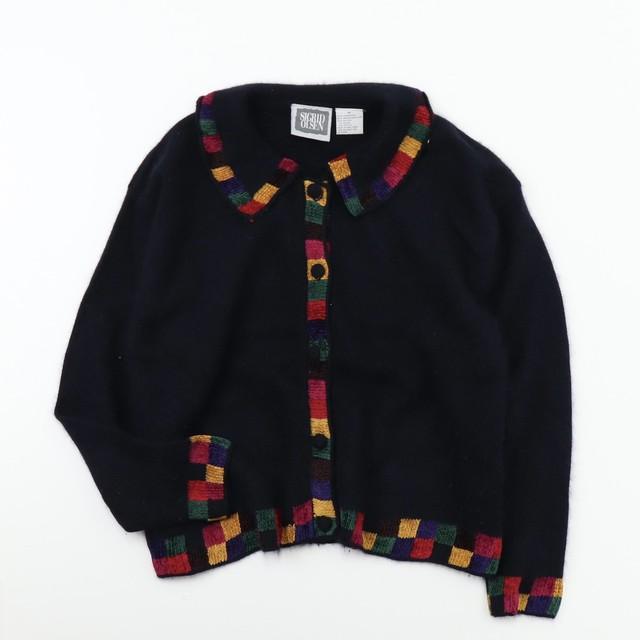 Used 【SICRID OLSEN】Angora Wool Design Cardigan  ユーズド アンゴラ ウール ベルベット カーディガン ブラック 表記M(L相当)