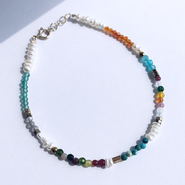 K10YG Mix Color Stone & Baroque Pearl Bracelet / チャリティージュエリー