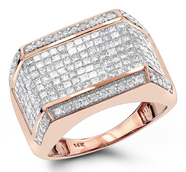 MENS DIAMOND RINGS 14K ROSE GOLD ROUND PRINCESS DIAMOND RING 2.25