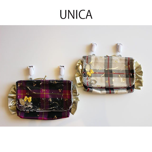 【UNICA】213-1812 移動ポケット チェックチェリー柄