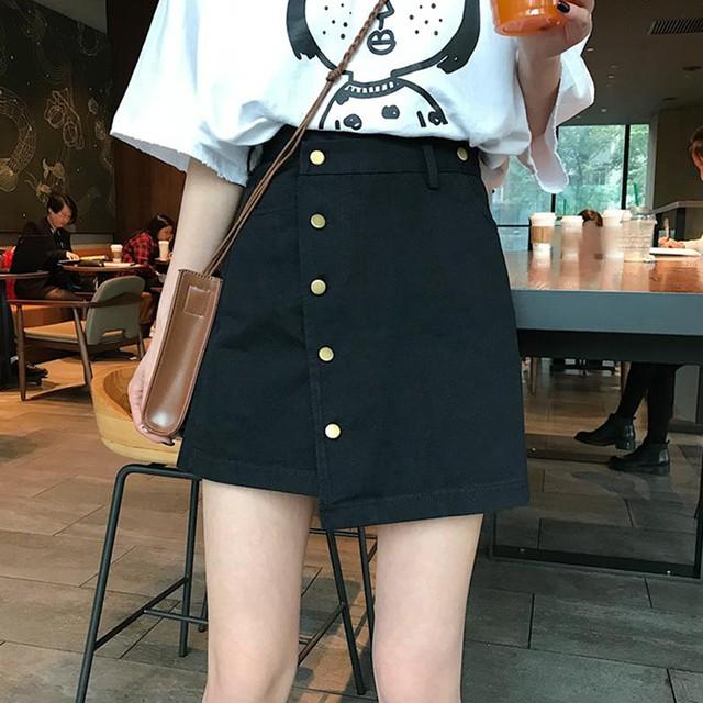 【bottoms】韓国系ハイウエスト不規則シングルブレストAラインスカート